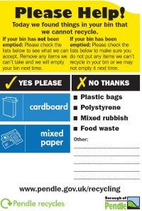 Example of a contaminated bin sticker