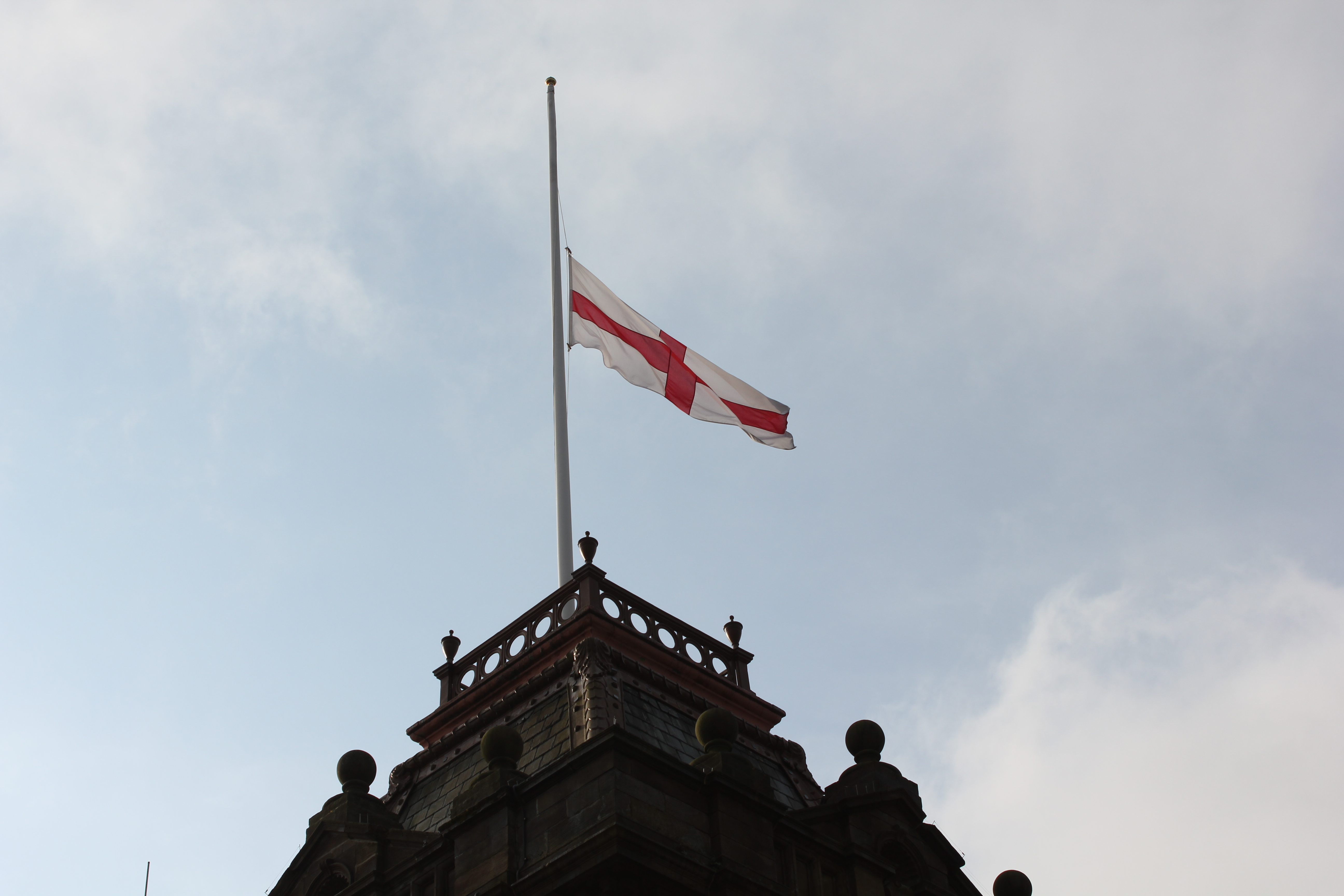 English flags flying at half-mast following Westminster terror attack