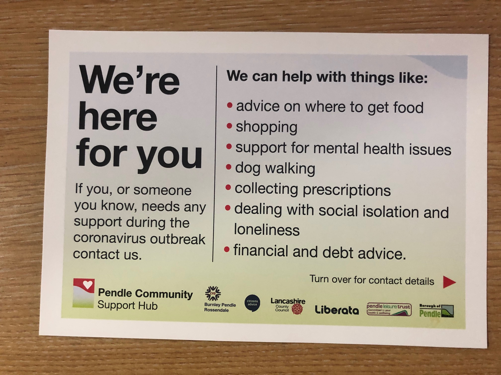 More than 40,000 postcards being delivered to Pendle homes promoting Community Support Hub