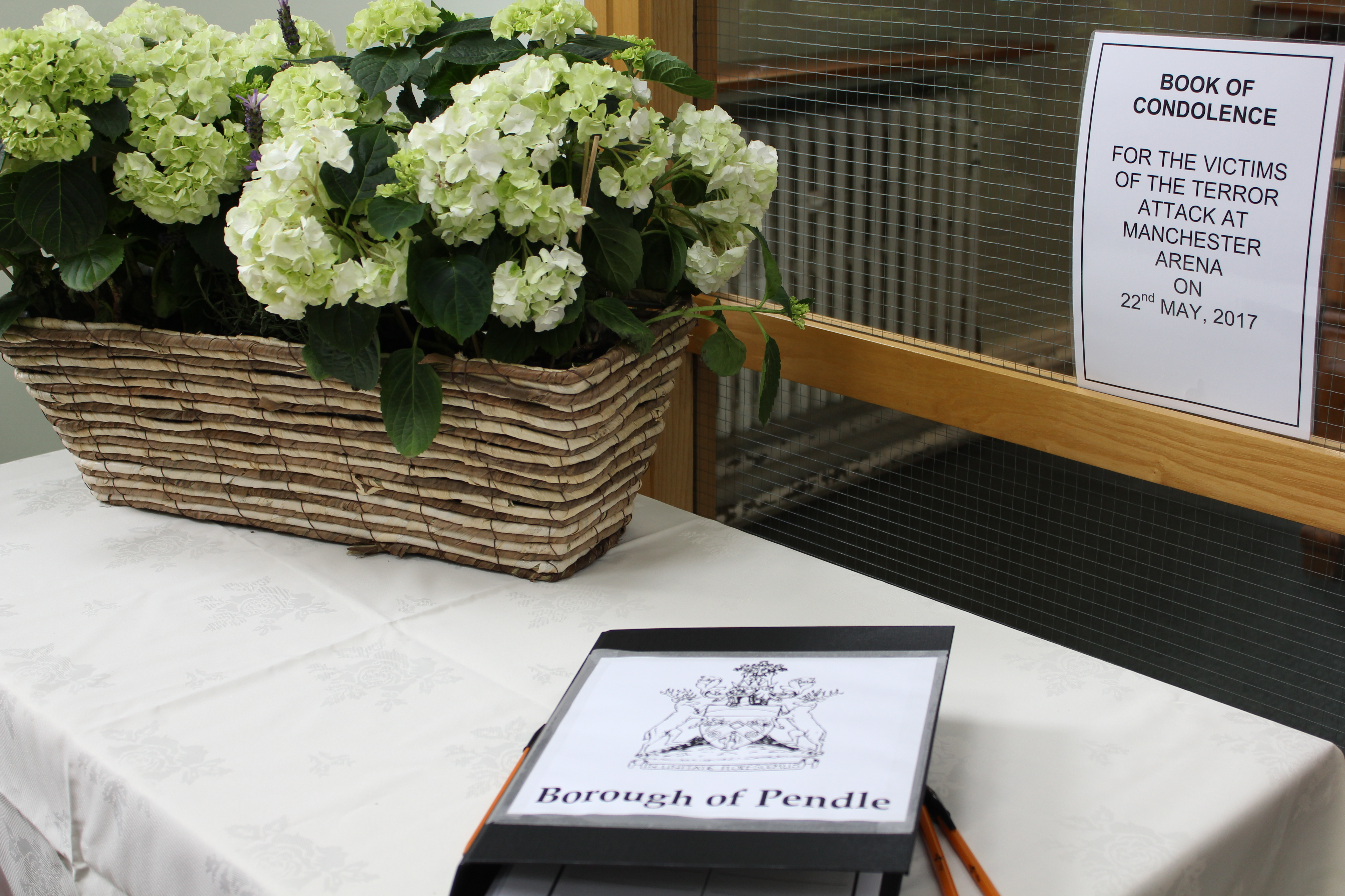 Pendle people invited to express condolences for attack victims.