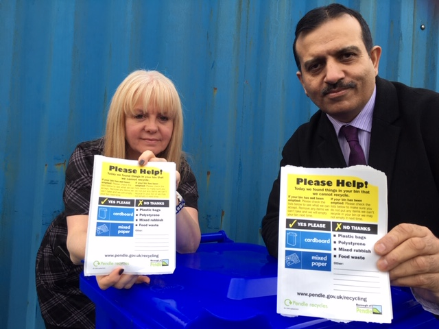 Photo of Waste & Recycling Co-ordinator Carole Taylor & Leader of the Council, Councillor Iqbal with the blue bin stickers