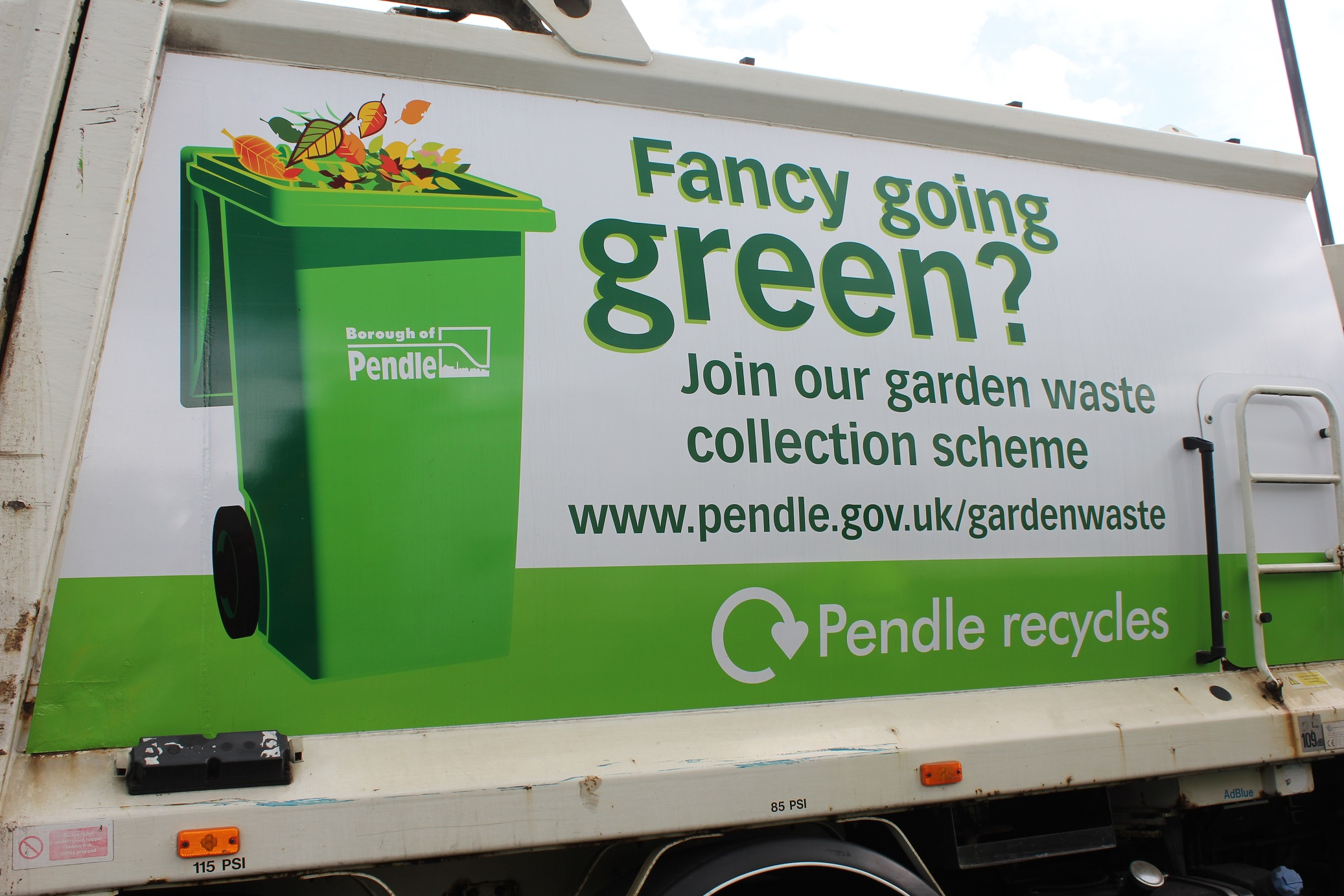 Bin wagon with garden waste livery