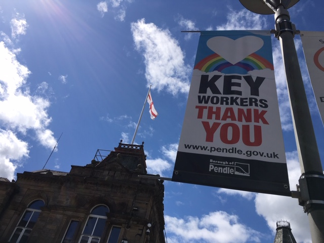 Flying thank you banners for key workers in Pendle