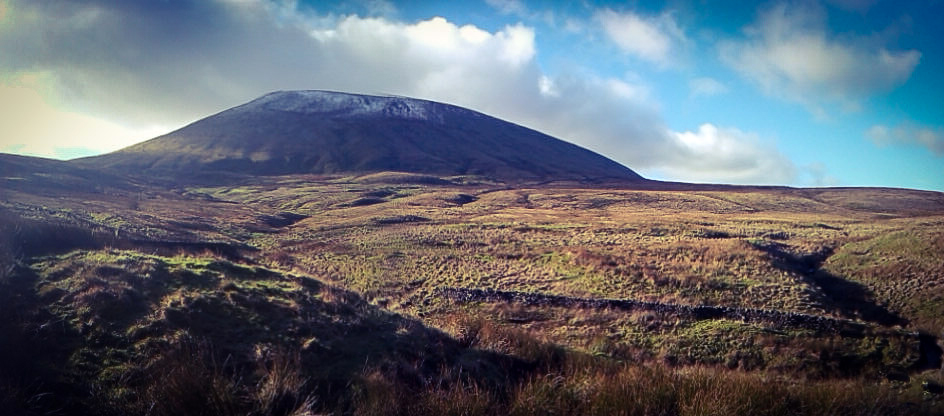 A panoramic shot of Pendle Hill.